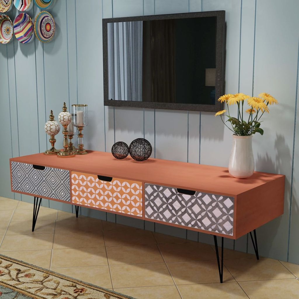 TV Cabinet with 3 Drawers 120x40x36 cm Brown 1