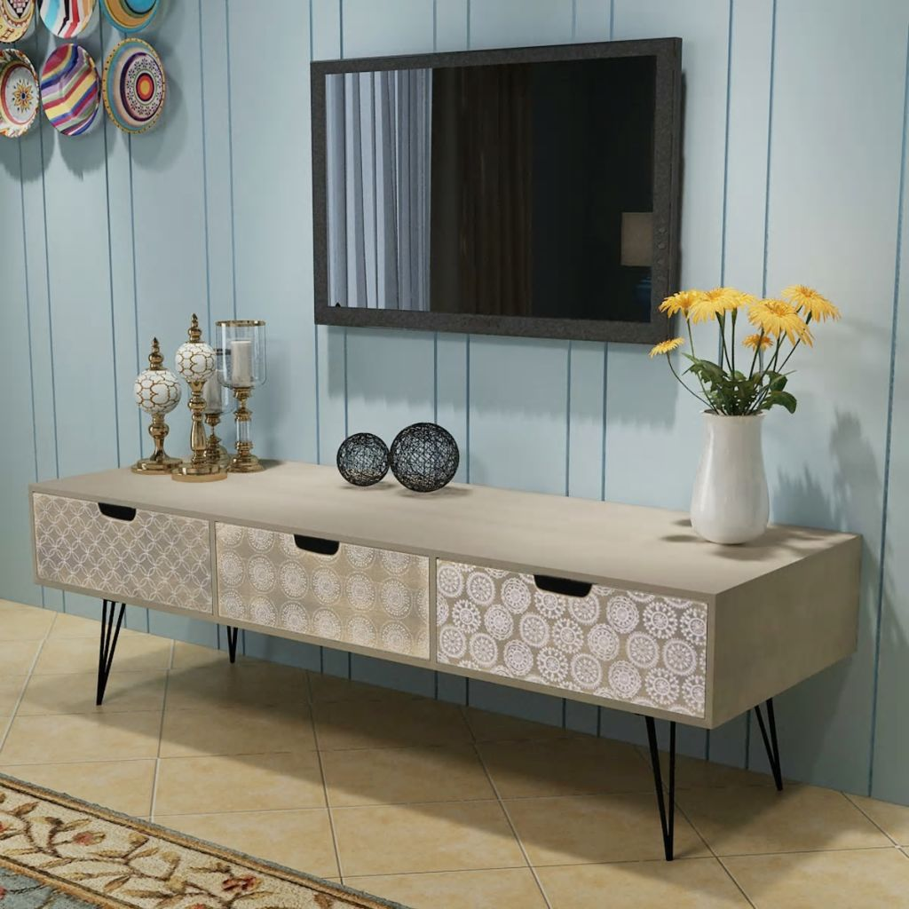 TV Cabinet with 3 Drawers 120x40x36 cm Grey 1
