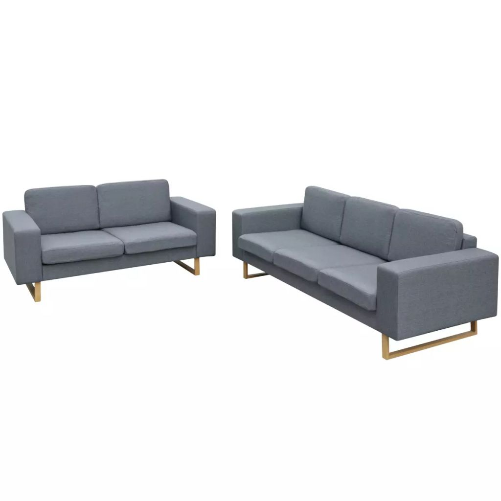 2-Seater and 3-Seater Sofa Set Light Grey 1