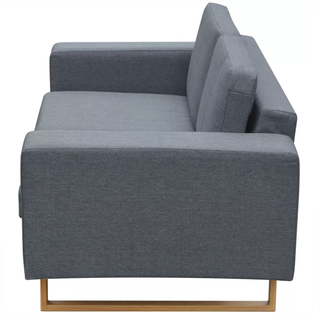 2-Seater and 3-Seater Sofa Set Light Grey 4