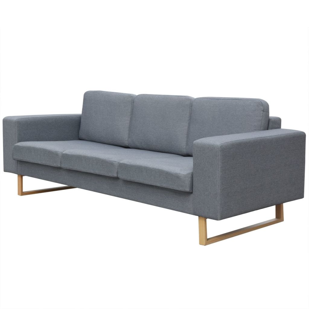 2-Seater and 3-Seater Sofa Set Light Grey 5