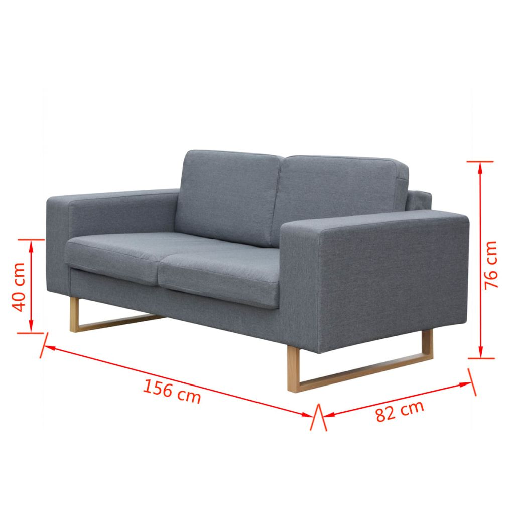 2-Seater and 3-Seater Sofa Set Light Grey 8