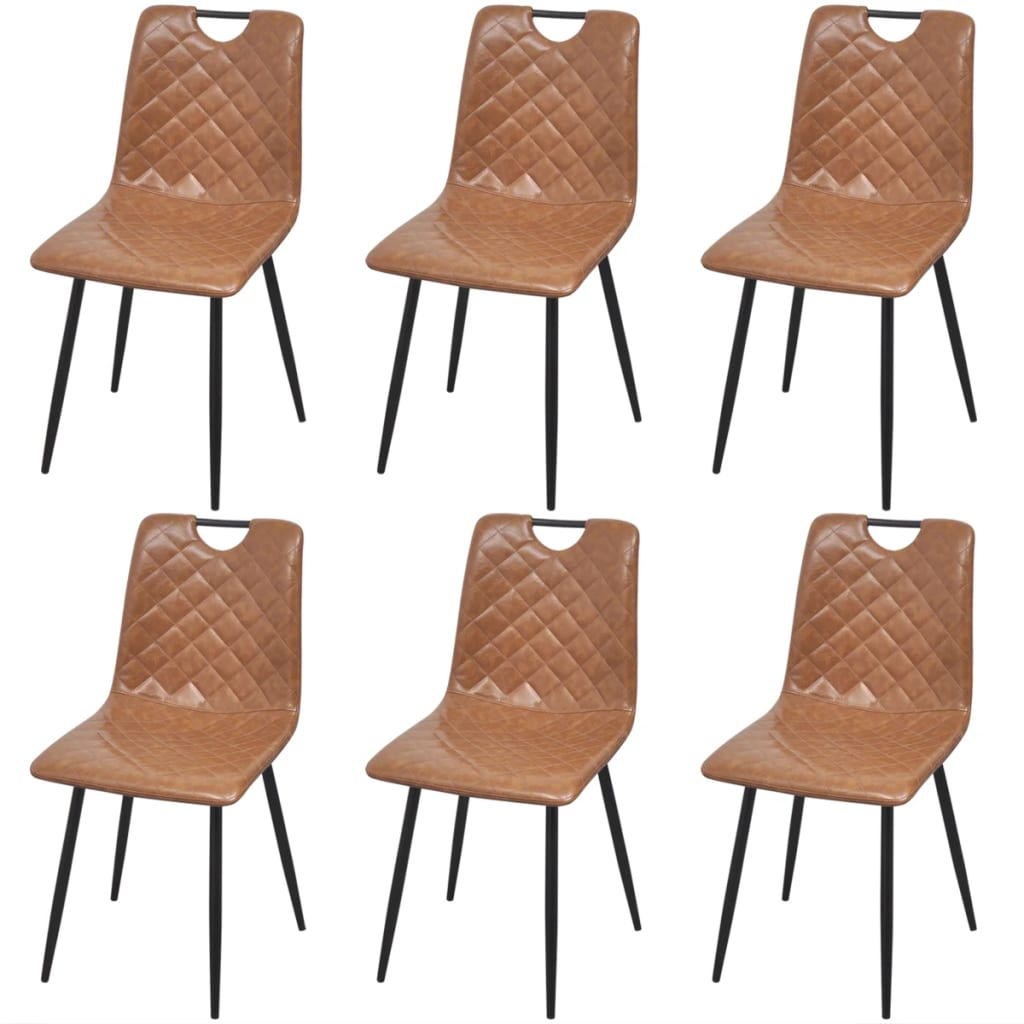 Dining Chairs 6 pcs Light Brown Faux Leather 1