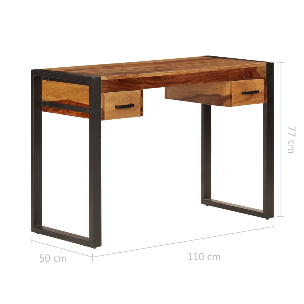 Desk with 2 Drawers 110x50x77 cm Solid Sheesham Wood 8