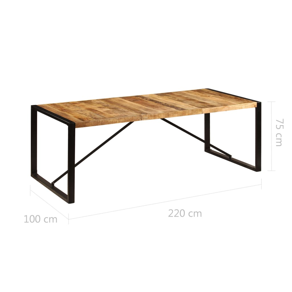 Dining Table 220x100x75 cm Solid Mango Wood 6
