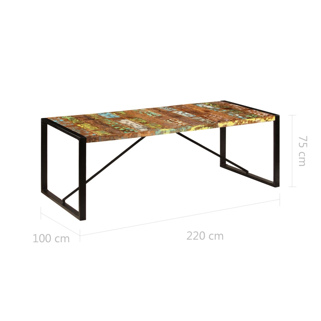 Dining Table 220x100x75 cm Solid Reclaimed Wood 6