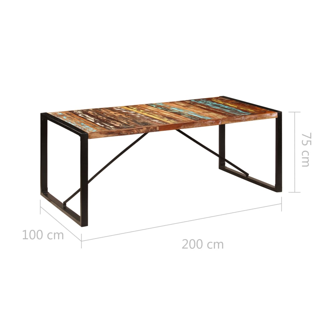 Dining Table 200x100x75 cm Solid Reclaimed Wood 7
