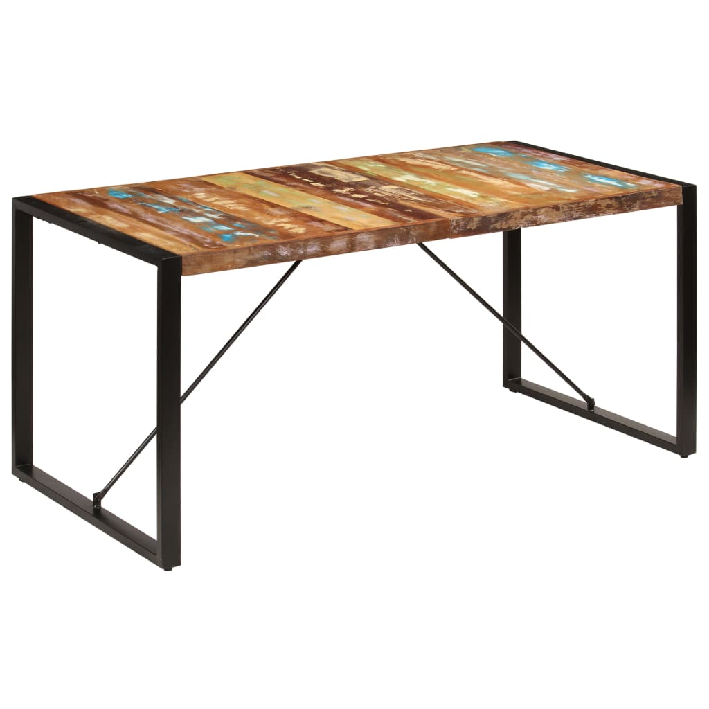 Dining Table 160x80x75 cm Solid Reclaimed Wood 1