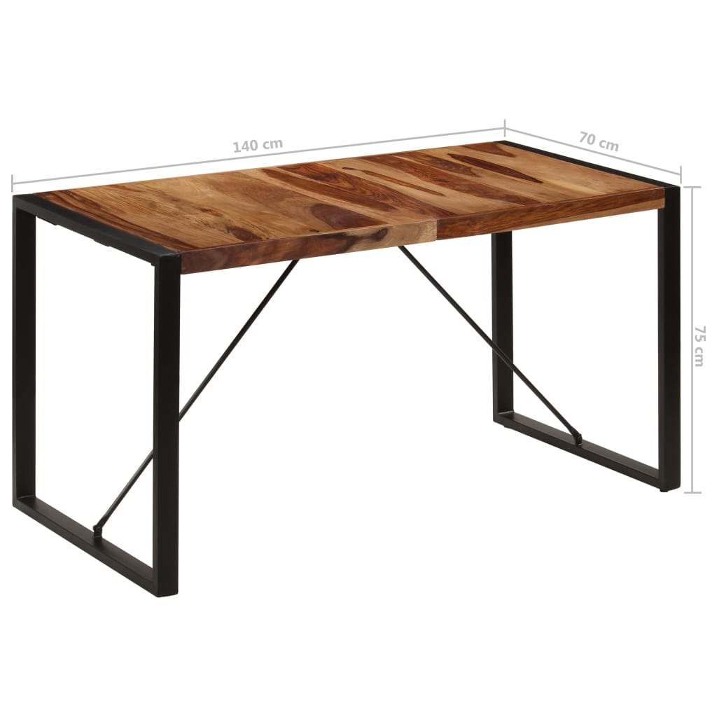 Dining Table 140x70x75 cm Solid Sheesham Wood 8