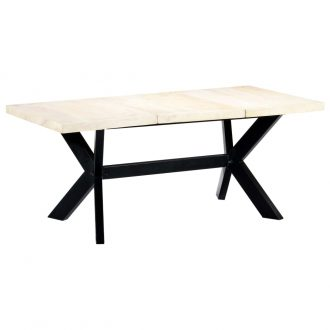 Dining Table White 180x90x75 cm Solid Mango Wood