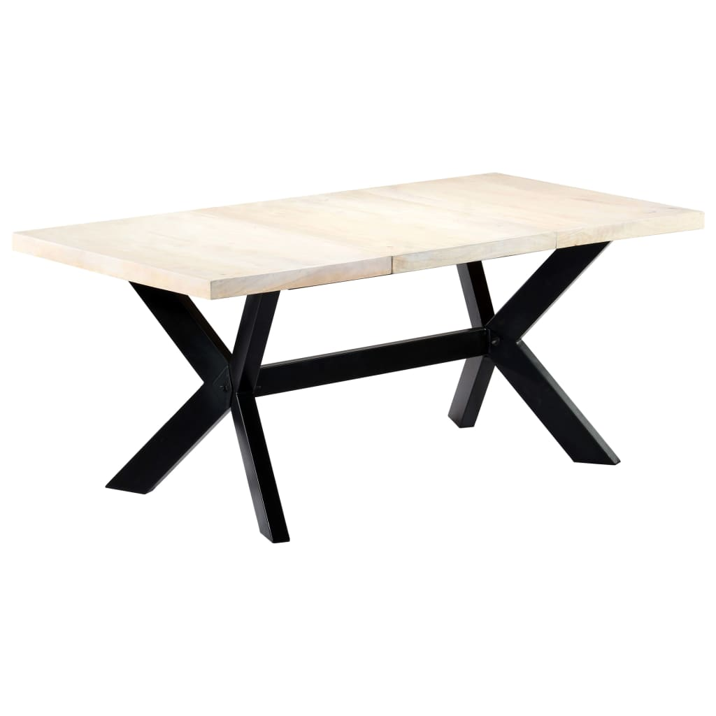 Dining Table White 180x90x75 cm Solid Mango Wood 7
