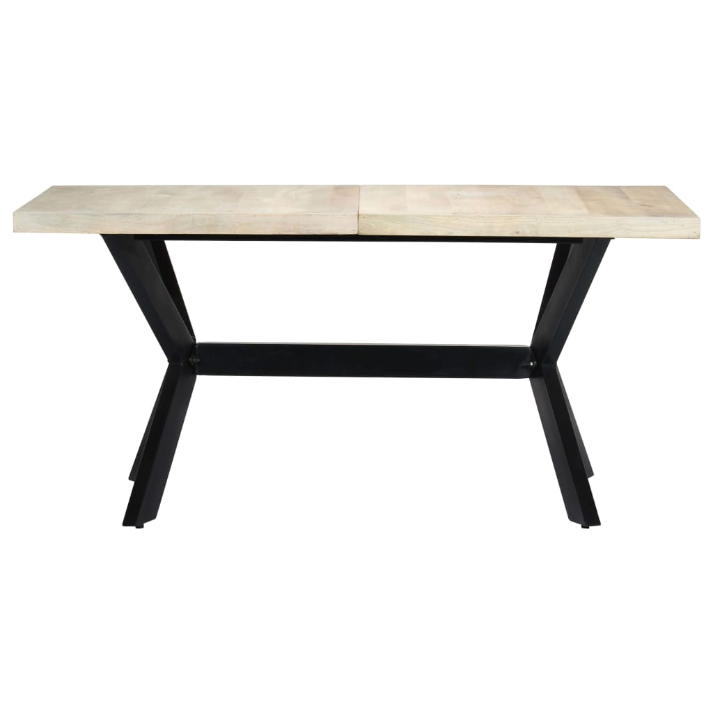Dining Table White 160x80x75 cm Solid Mango Wood 2