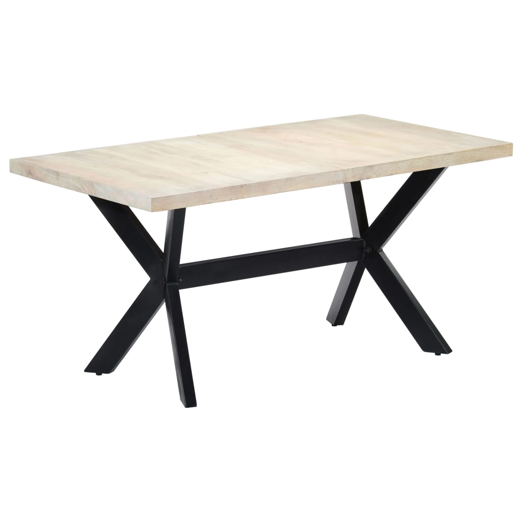 Dining Table White 160x80x75 cm Solid Mango Wood 11