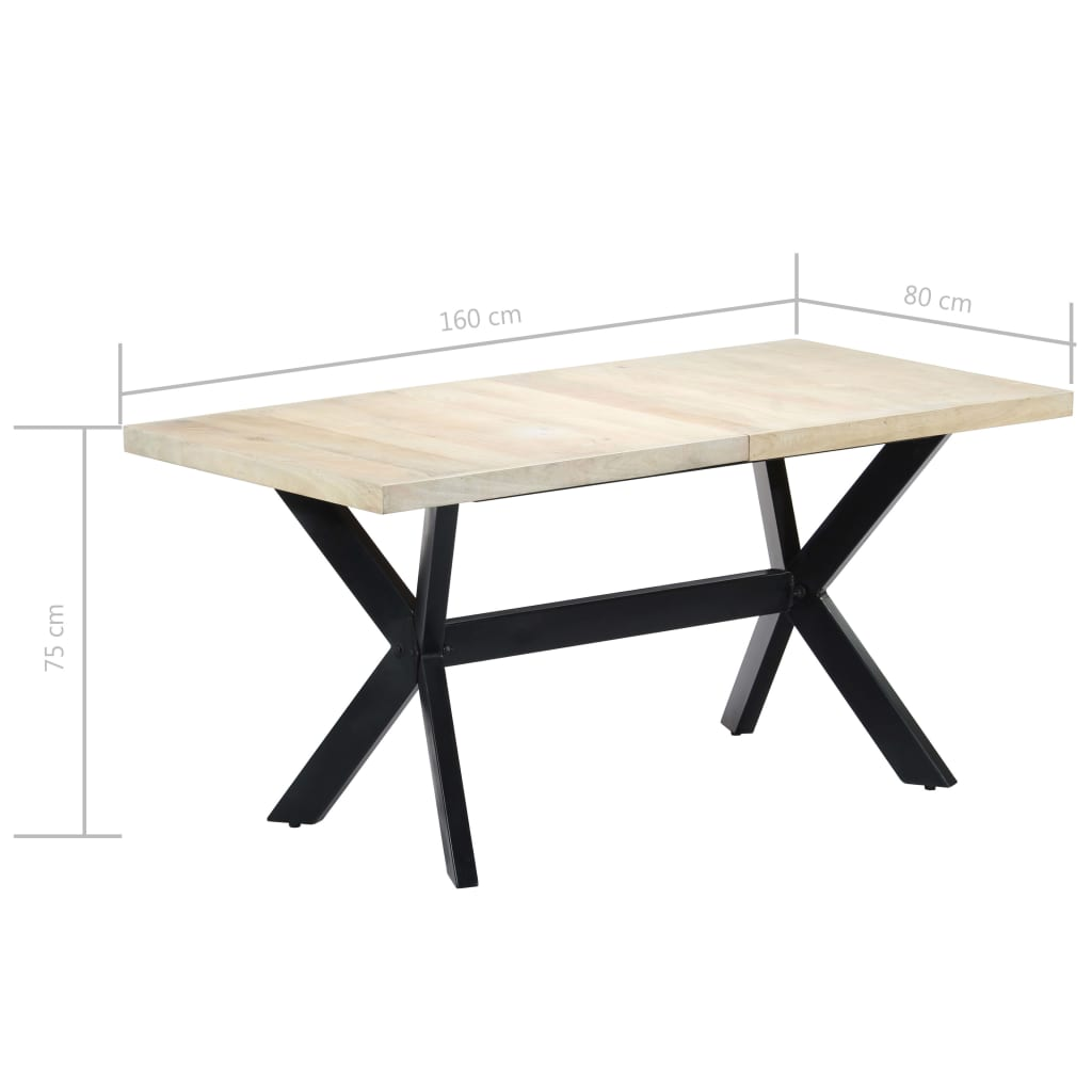 Dining Table White 160x80x75 cm Solid Mango Wood 7