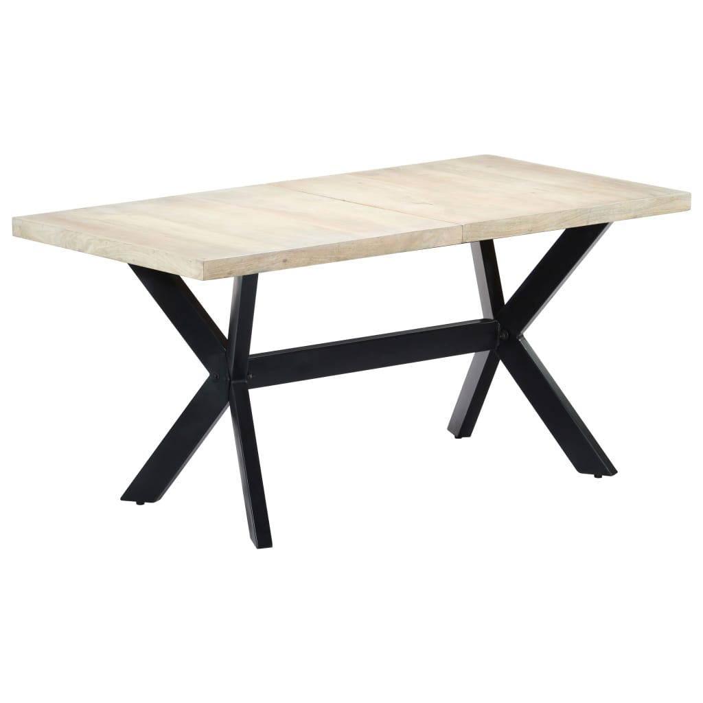 Dining Table White 160x80x75 cm Solid Mango Wood 9