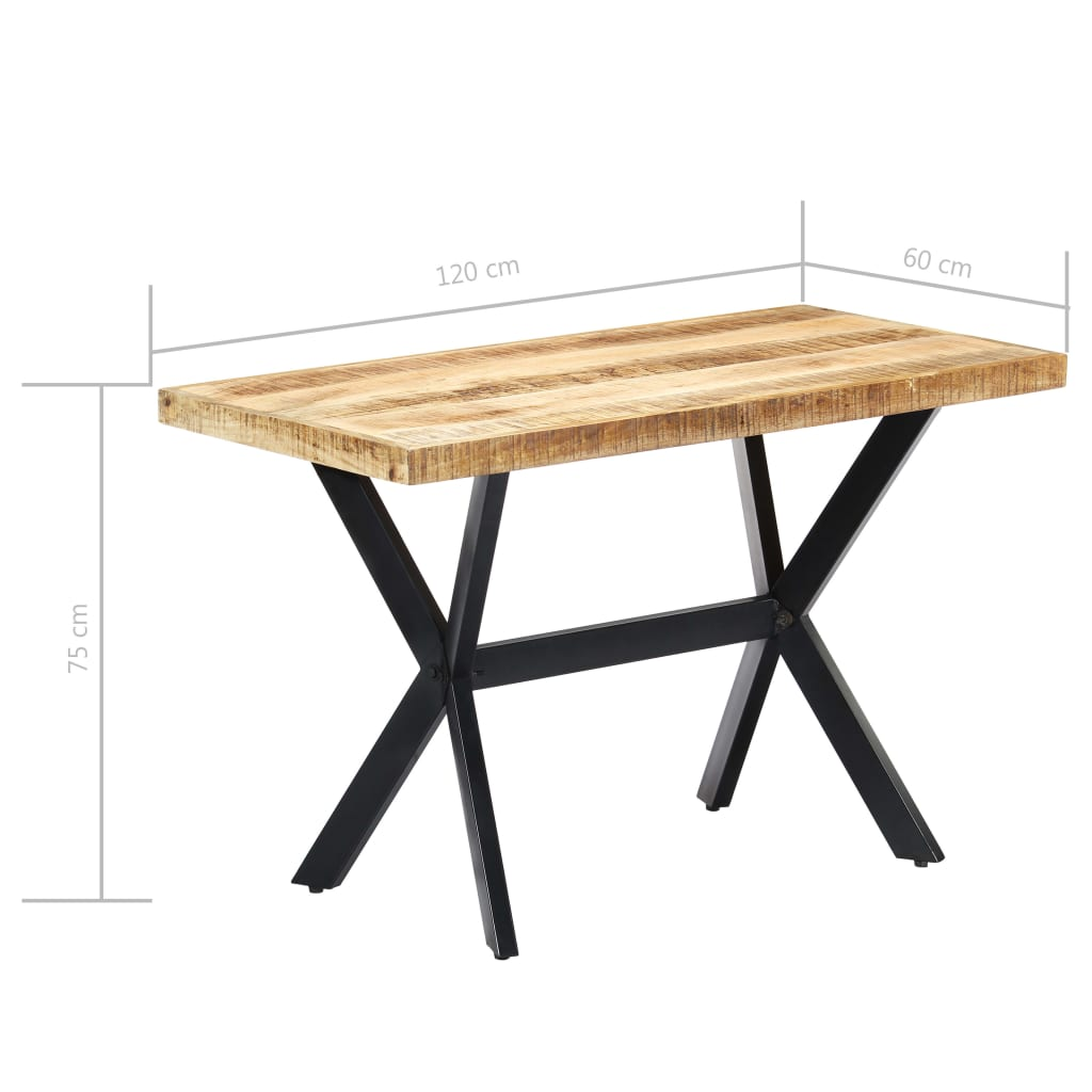 Dining Table 120x60x75 cm Solid Rough Mango Wood 6