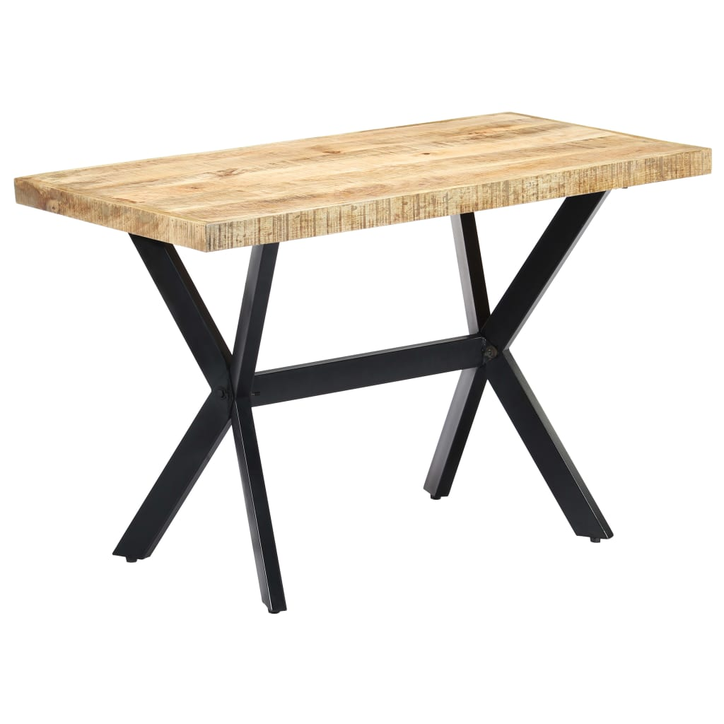 Dining Table 120x60x75 cm Solid Rough Mango Wood 10