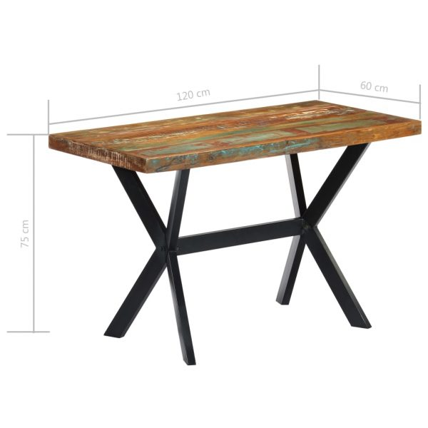 Dining Table 120x60x75 cm Solid Reclaimed Wood 7