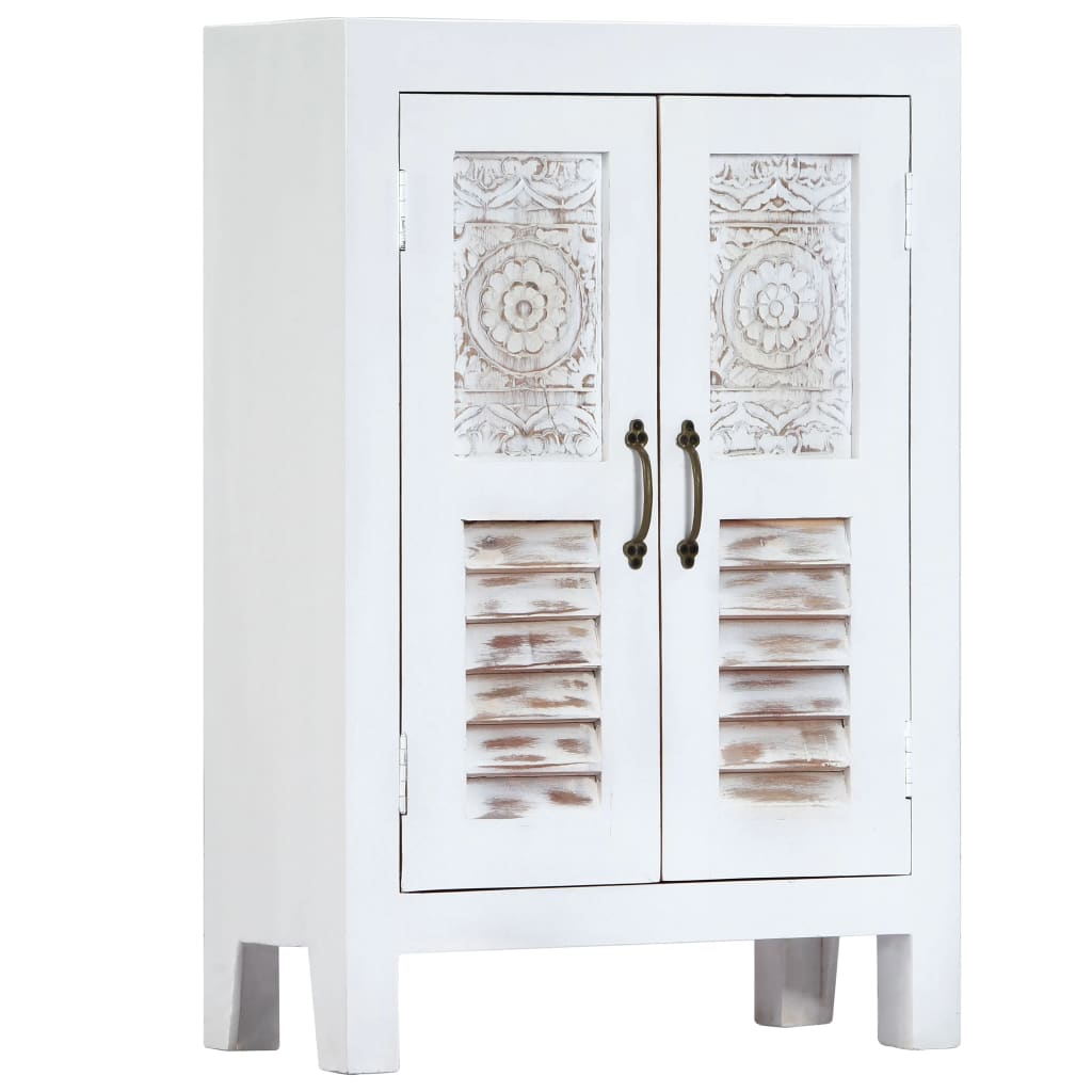 Carved Sideboard White 60x30x89 cm Solid Mango Wood