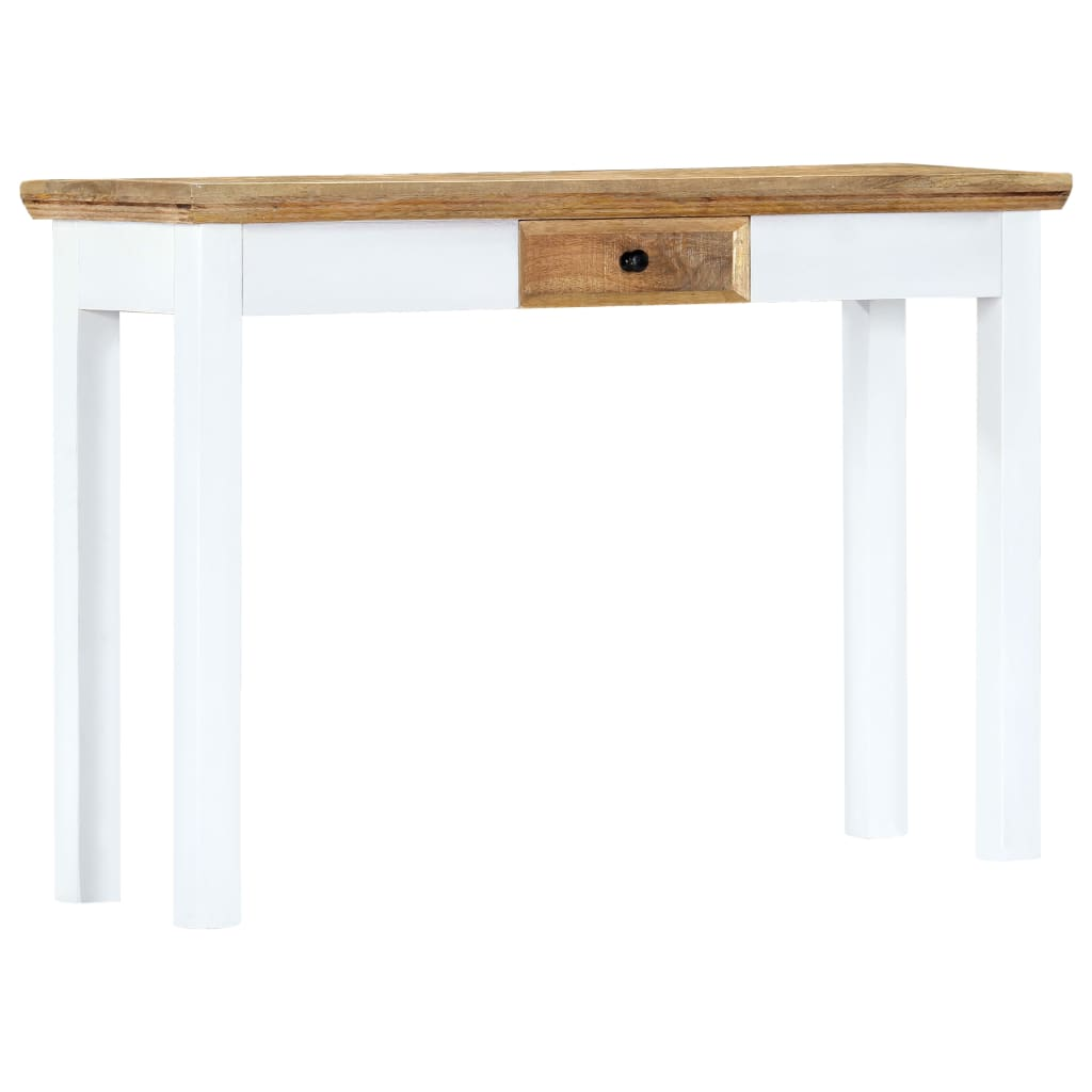 Console Table White and Brown 110x35x75 cm Solid Mango Wood