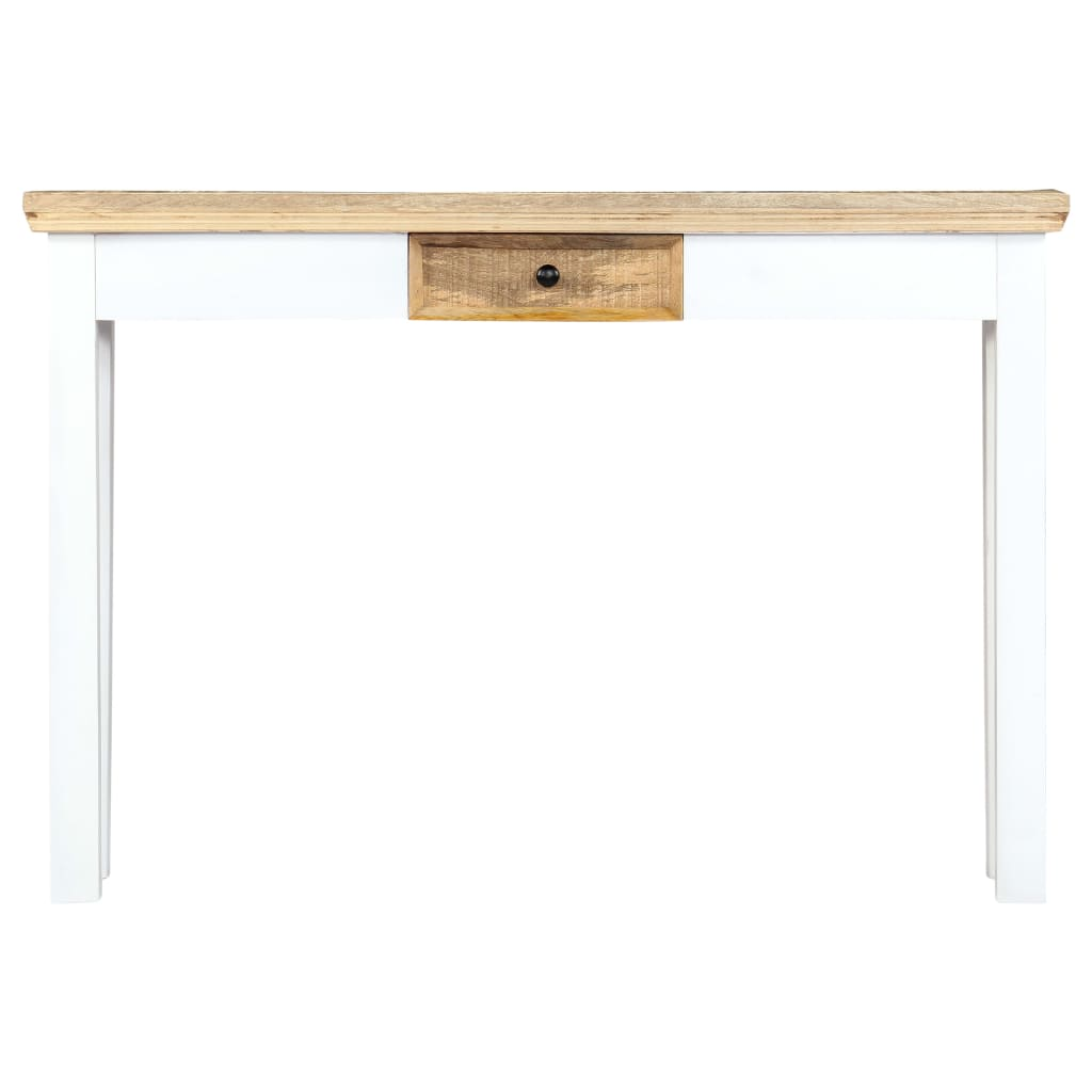 Console Table White and Brown 110x35x75 cm Solid Mango Wood 2