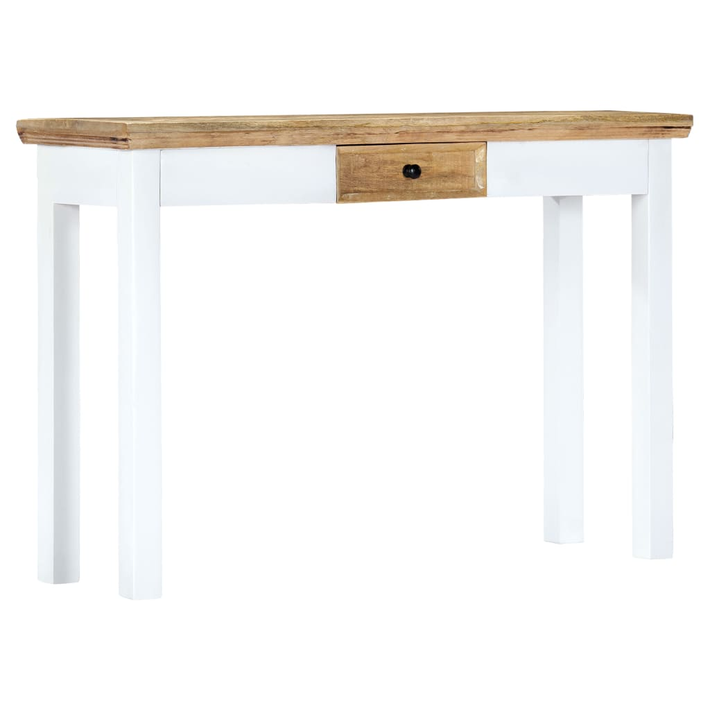 Console Table White and Brown 110x35x75 cm Solid Mango Wood 11