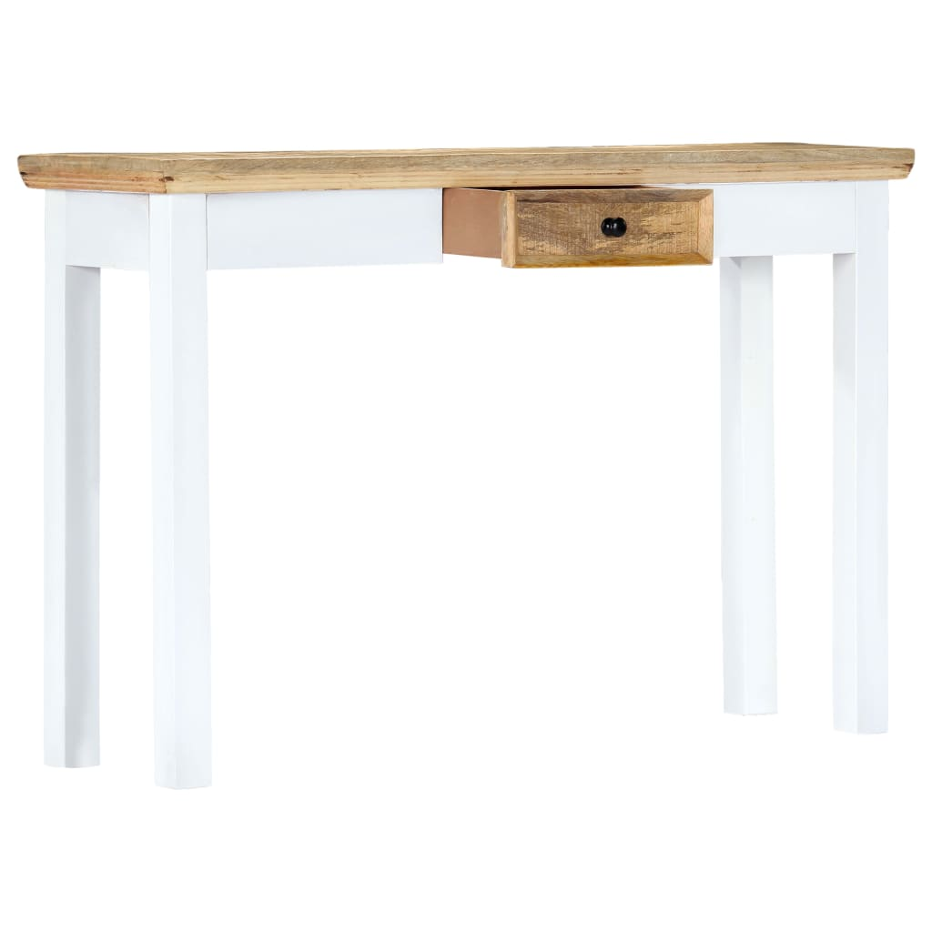 Console Table White and Brown 110x35x75 cm Solid Mango Wood 3