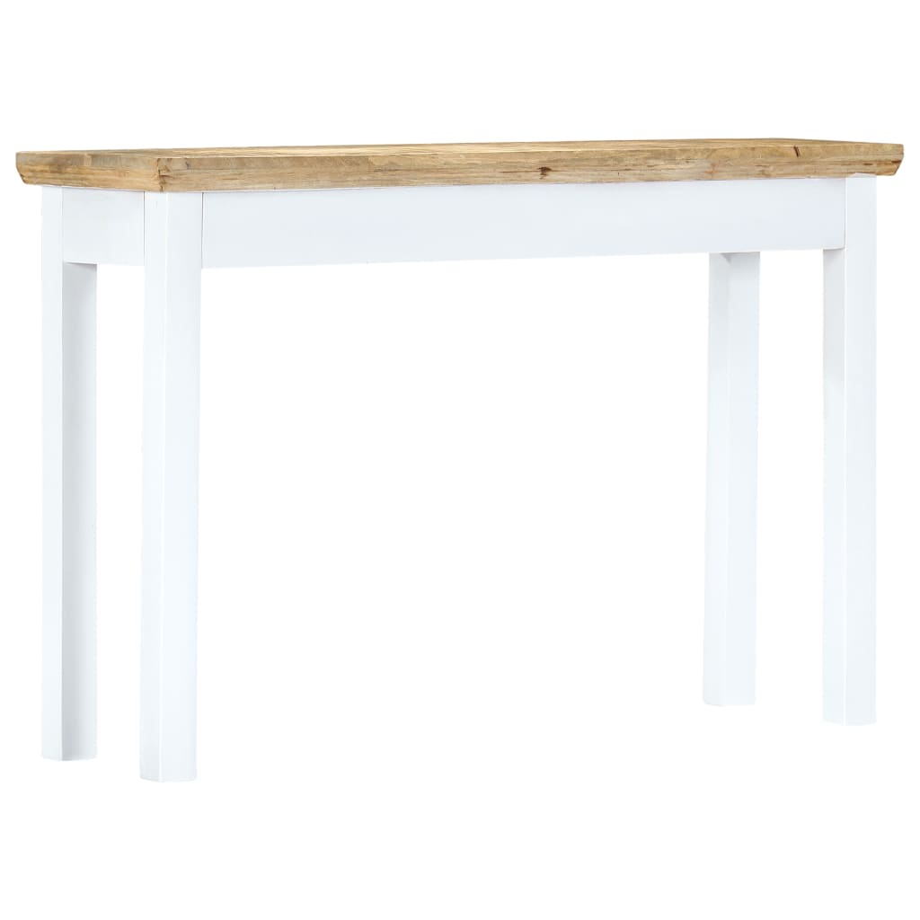 Console Table White and Brown 110x35x75 cm Solid Mango Wood 4