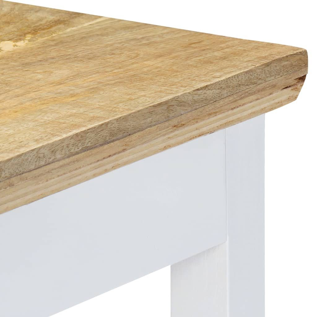 Console Table White and Brown 110x35x75 cm Solid Mango Wood 6