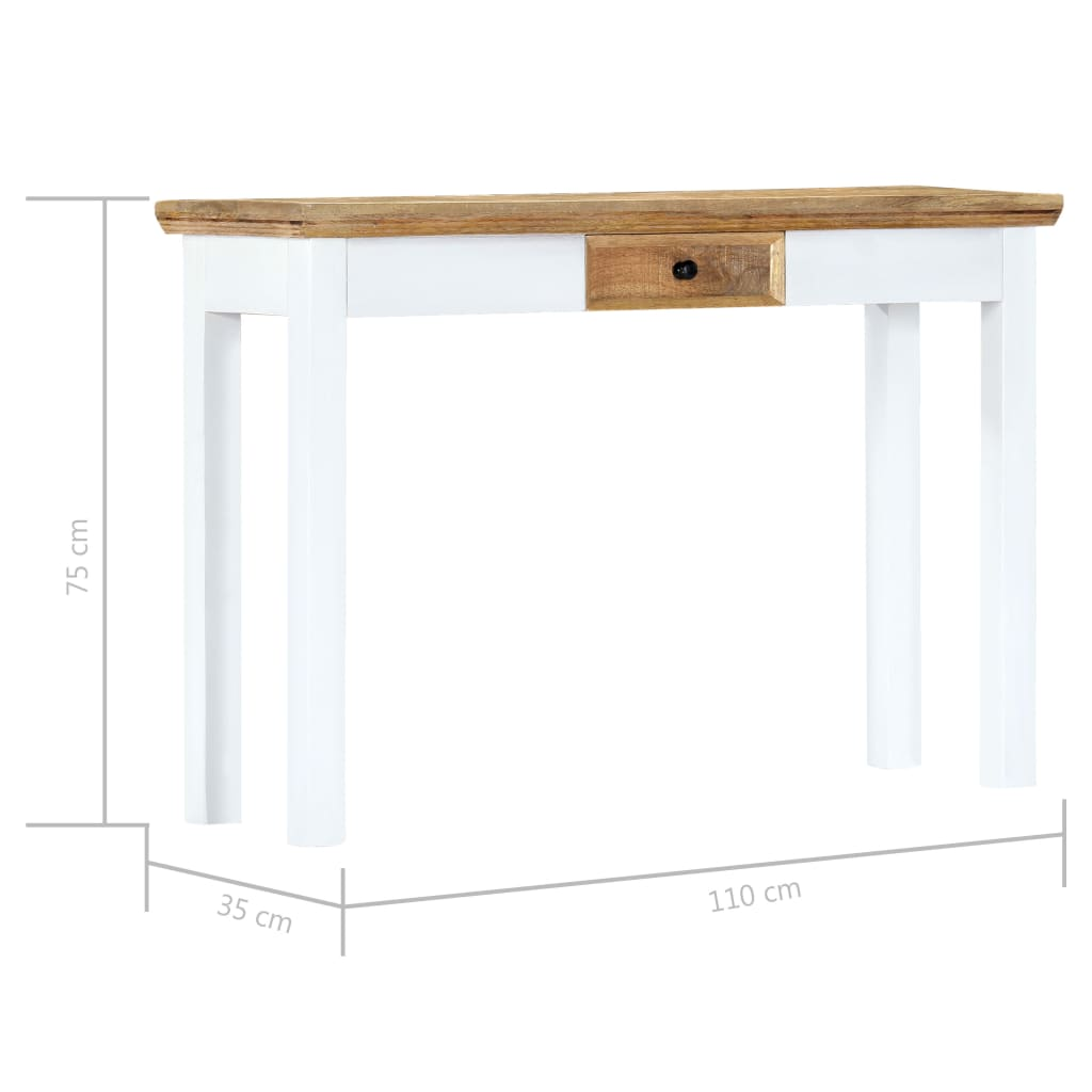 Console Table White and Brown 110x35x75 cm Solid Mango Wood 7
