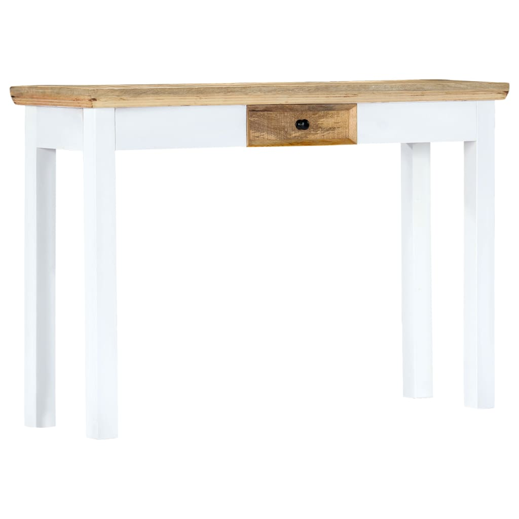 Console Table White and Brown 110x35x75 cm Solid Mango Wood 8