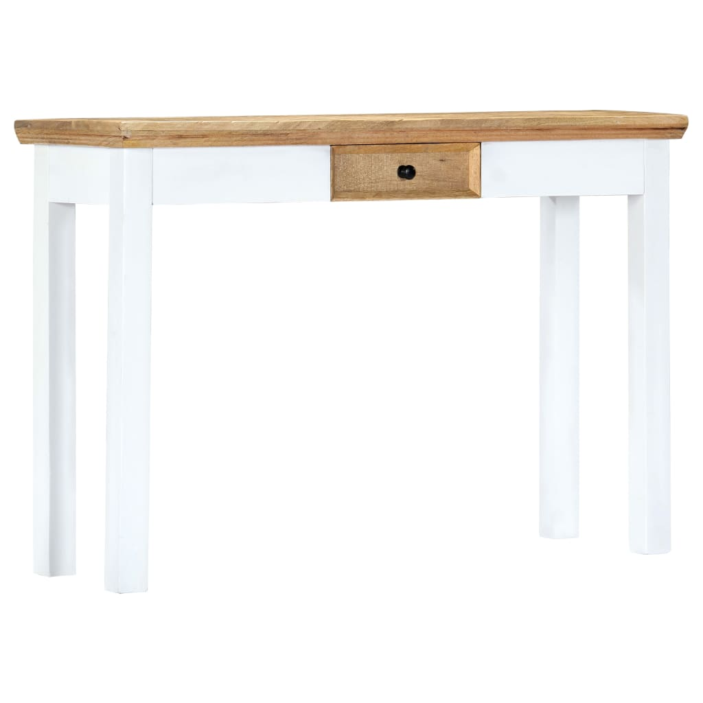 Console Table White and Brown 110x35x75 cm Solid Mango Wood 9