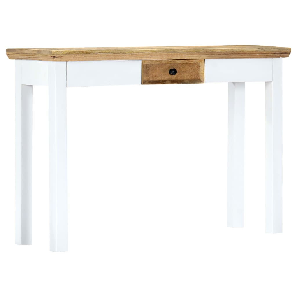 Console Table White and Brown 110x35x75 cm Solid Mango Wood 10