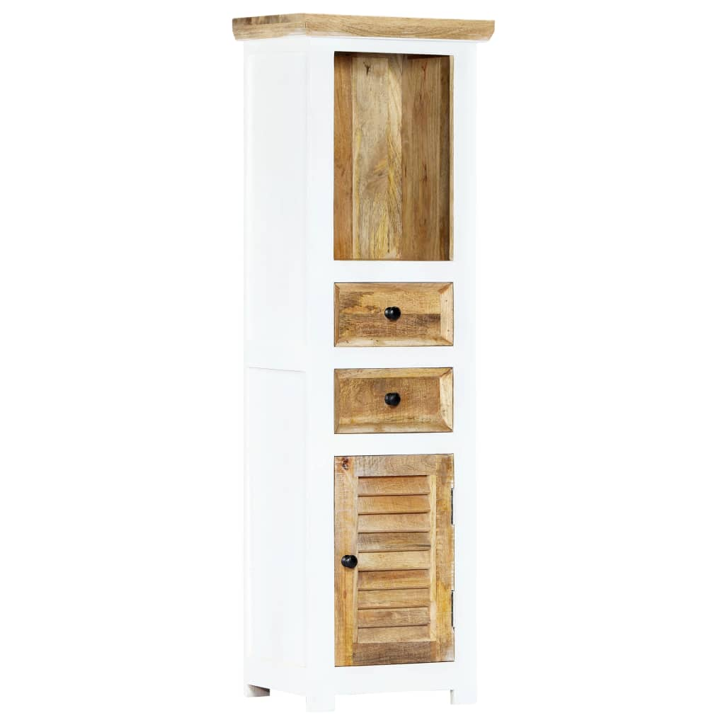 Highboard White and Brown 40x30x128 cm Solid Rough Mango Wood 1