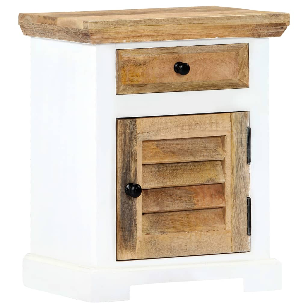 Nightstand White and Brown 40x30x50 cm Solid Rough Mango Wood 1
