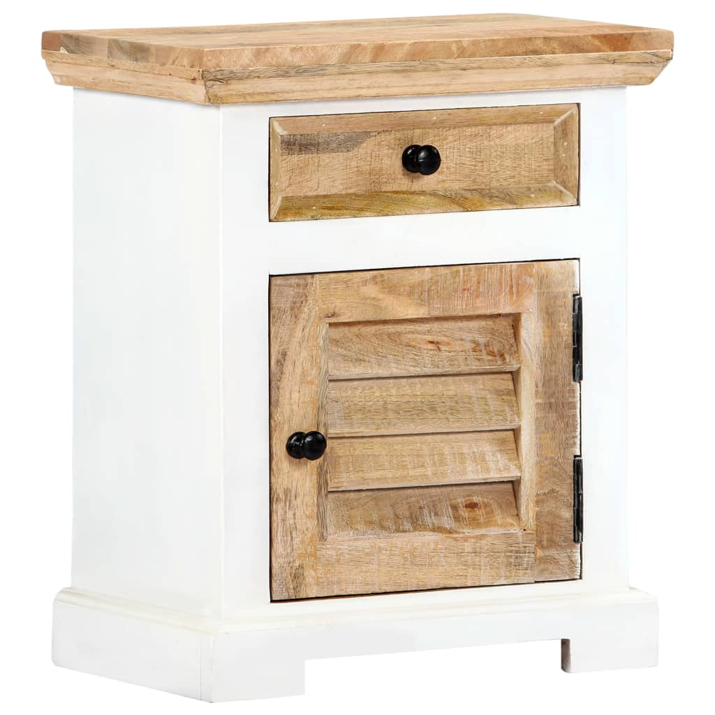 Nightstand White and Brown 40x30x50 cm Solid Rough Mango Wood 11
