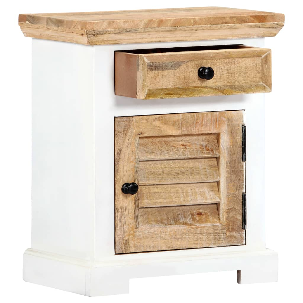 Nightstand White and Brown 40x30x50 cm Solid Rough Mango Wood 3