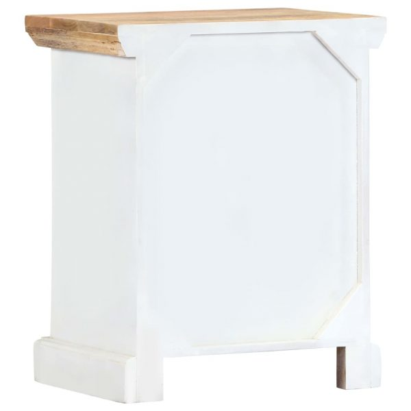 Nightstand White and Brown 40x30x50 cm Solid Rough Mango Wood 4