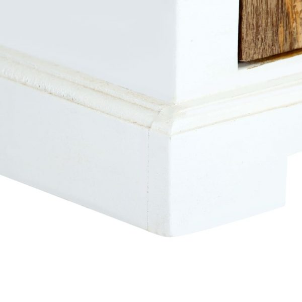 Nightstand White and Brown 40x30x50 cm Solid Rough Mango Wood 7