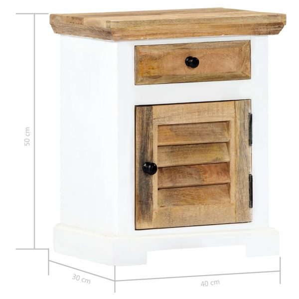 Nightstand White and Brown 40x30x50 cm Solid Rough Mango Wood 8