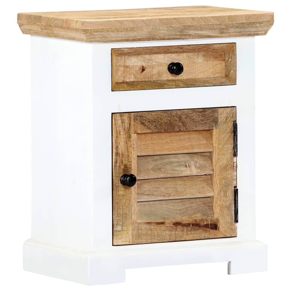 Nightstand White and Brown 40x30x50 cm Solid Rough Mango Wood 9