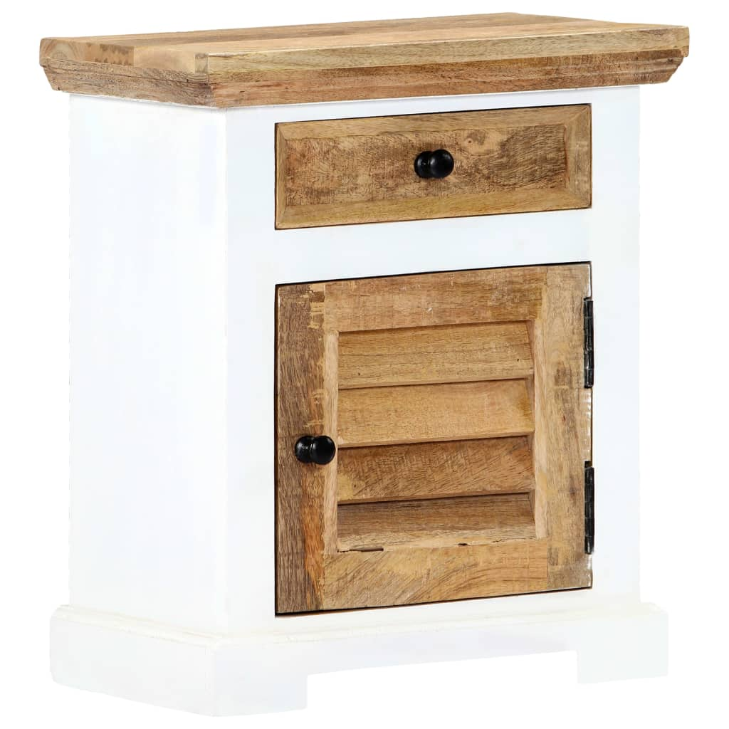 Nightstand White and Brown 40x30x50 cm Solid Rough Mango Wood 10