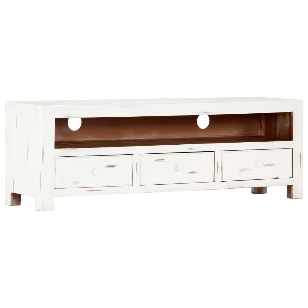 TV Cabinet White 120x30x40 cm Solid Acacia Wood 1