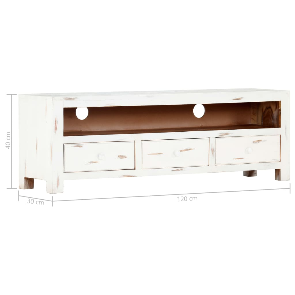 TV Cabinet White 120x30x40 cm Solid Acacia Wood 11