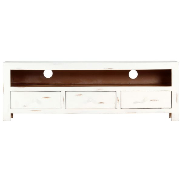 TV Cabinet White 120x30x40 cm Solid Acacia Wood 4