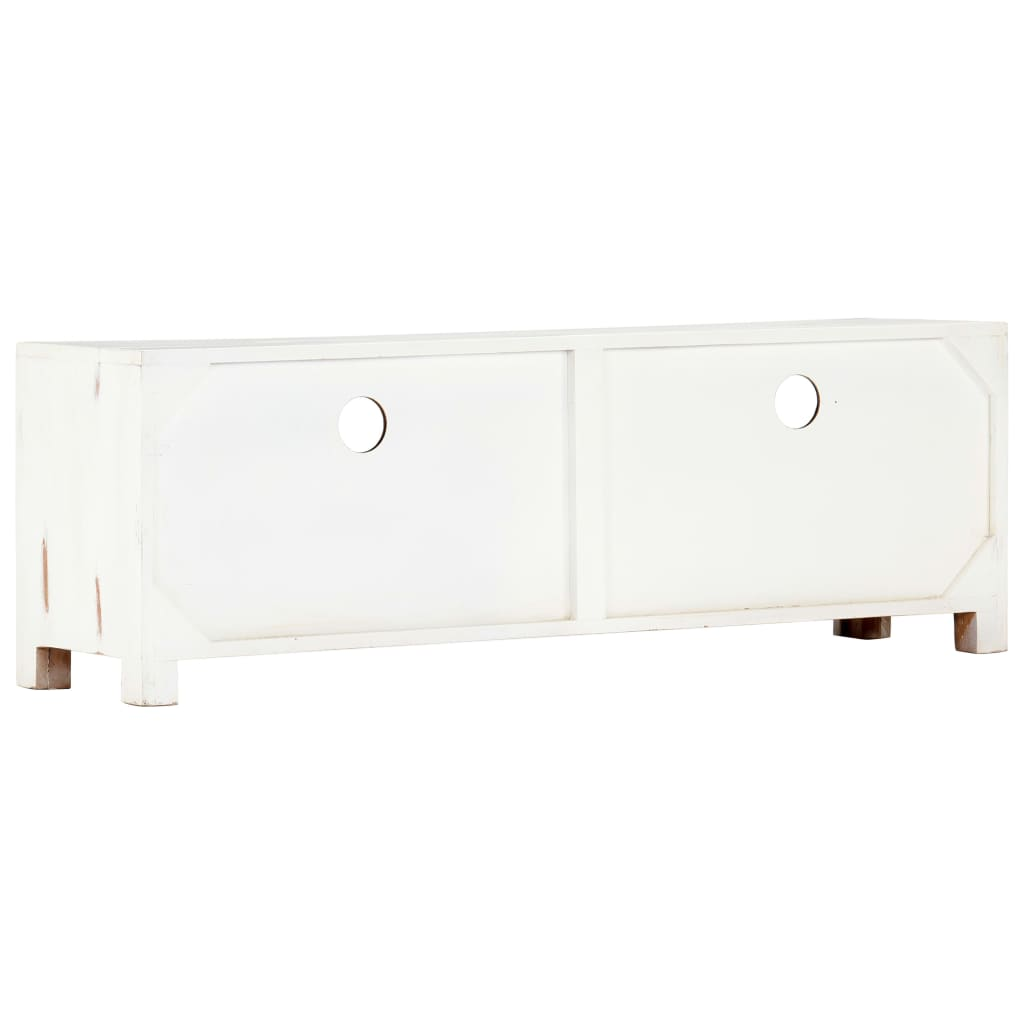 TV Cabinet White 120x30x40 cm Solid Acacia Wood 5