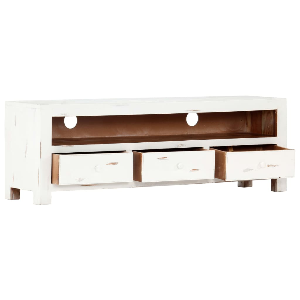 TV Cabinet White 120x30x40 cm Solid Acacia Wood 6