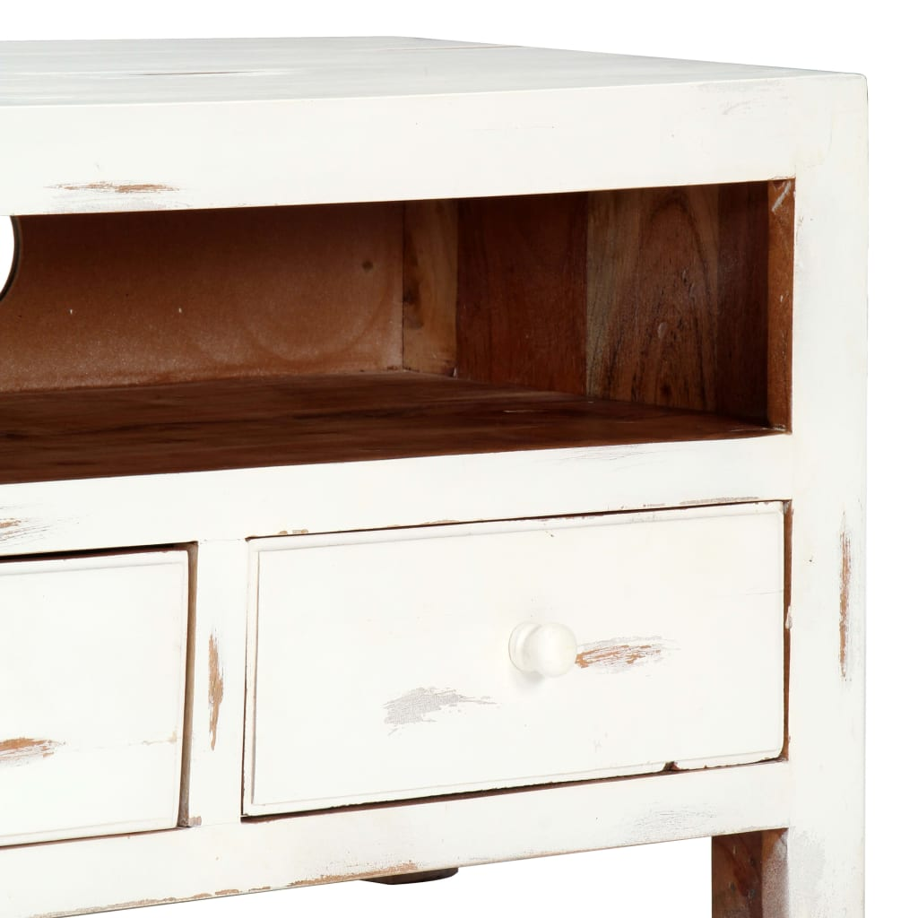 TV Cabinet White 120x30x40 cm Solid Acacia Wood 7