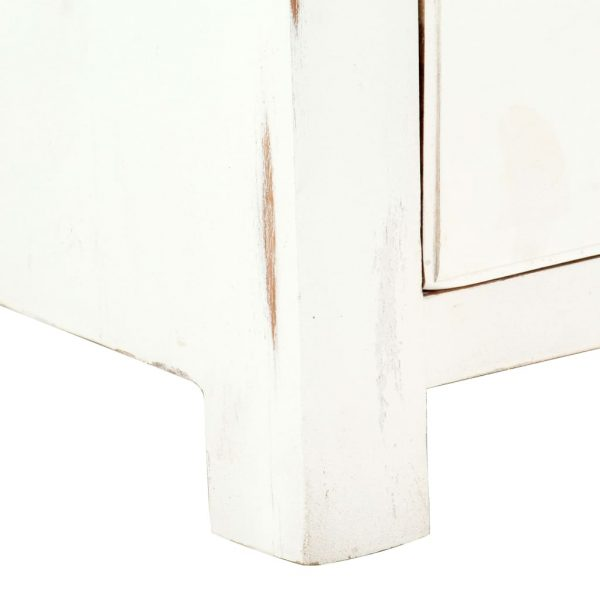 TV Cabinet White 120x30x40 cm Solid Acacia Wood 8