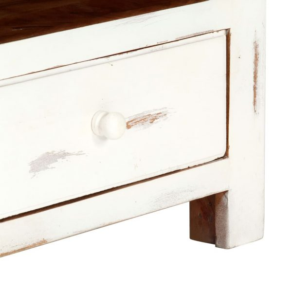 TV Cabinet White 120x30x40 cm Solid Acacia Wood 9